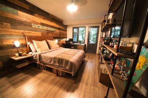 chambre palette lit en palette de bois avec lumiere mzaol com