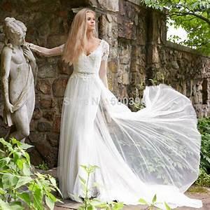 simple a line long sleeve wedding dress elegant 2016 With flowing wedding dresses