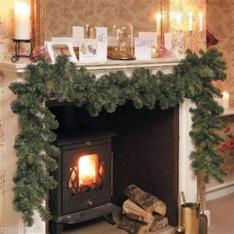 luxury thick mantel fireplace christmas garland pine tree