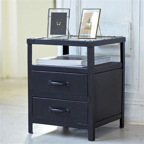 bedroom table with drawers tikamoon industriel metal bedside table with 2 drawers