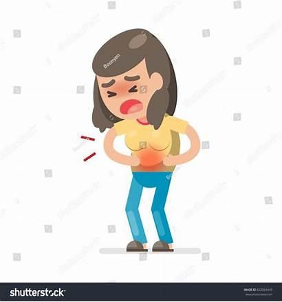 Stomach Ache Suffering Having Woman Cartoon