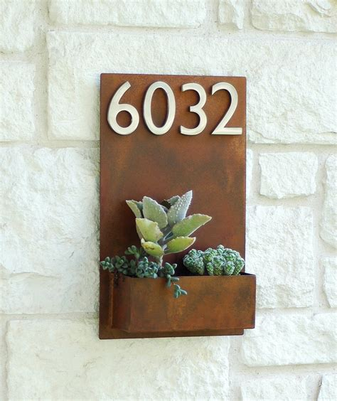 east side planter  silver address numbers address sign
