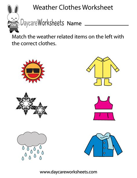 preschool weather clothes worksheet