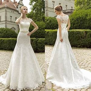 Turmec lace cap sleeve fit and flare wedding dress for Lace fit and flare wedding dress with sleeves
