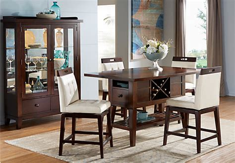 julian place chocolate brown vanilla  white  pc counter height dining room rectangle