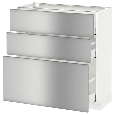 metod maximera base cabinet with 3 drawers white grevsta stainless steel 80x37 cm ikea
