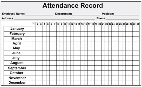 excel employee attendance sheet  catchy printable