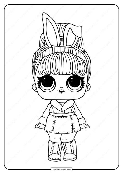 lol surprise hairgoals snow bunny coloring page