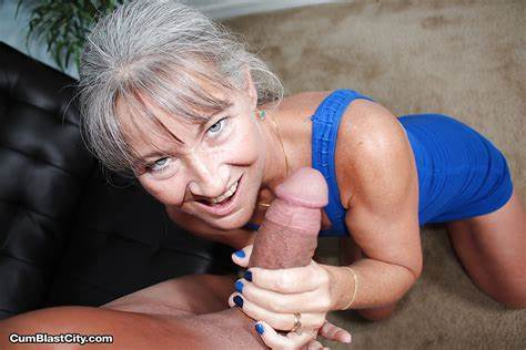 Grey Haired Boner Sucked By A Blue Haired
