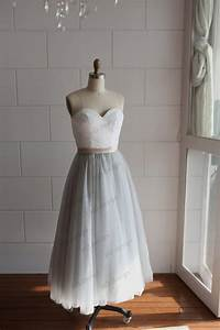 strapless ivory lace silver grey tulle tea length short With silver grey wedding dress