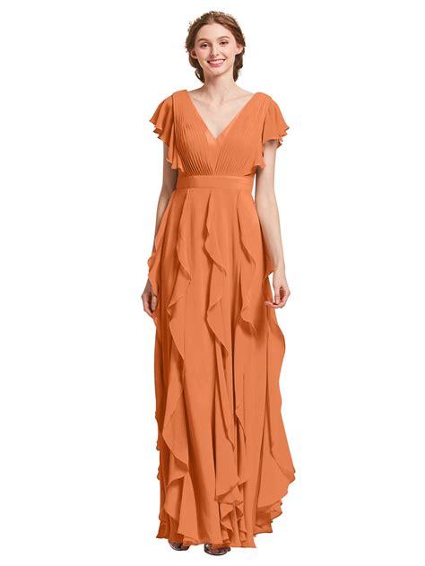 AW BRIDAL Chiffon Bridesmaid Dresses with Sleeves Long ...