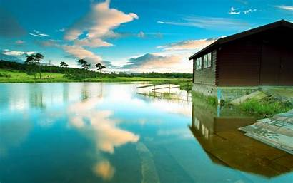 Lake Desktop Haus Nature Wallpapers Azure Hintergrundbilder