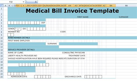 medical bill invoice template xls  excel
