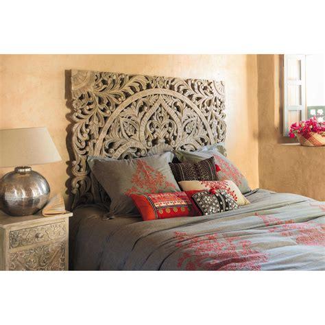 tete de lit sculptee en manguier massif   cm maison