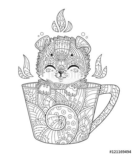 puppy  cup adult antistress coloring page  dog