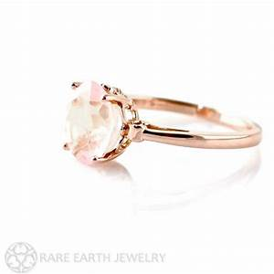 Rose gold ring rose quartz ring fleur de lis ring 14k by for Quartz wedding rings