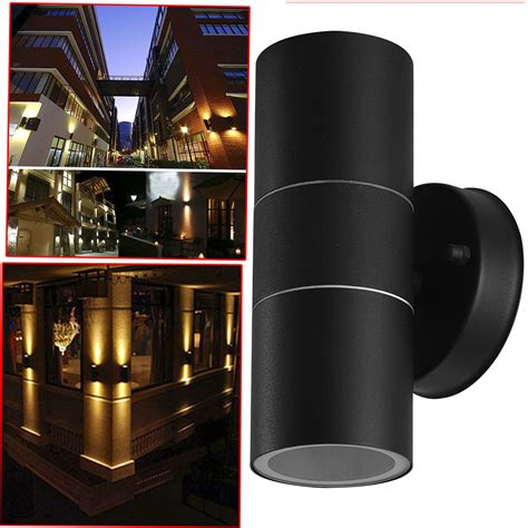black stainless steel up down wall light gu10 double outdoor spot led l s247 ebay