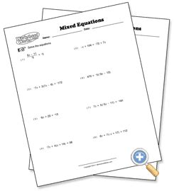 worksheet works solving multi step equations distributive with parentheses mixed problem types solving multi step equations preview worksheetworks com for making
