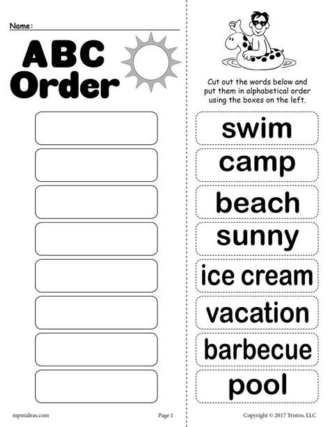 free summer alphabetical order worksheet supplyme 726 | Summer 20abc 20order 1024x1024