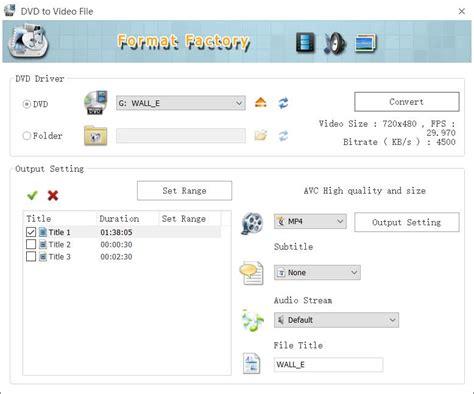 format factory  media file format converter