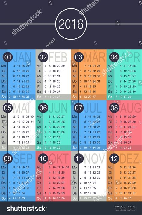 german calendar year  week starts stock vector