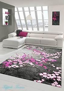 Teppich Grau Rosa : designer teppich moderner teppich wohnzimmer teppich blumenmuster grau lila pink weiss rosa ~ Indierocktalk.com Haus und Dekorationen
