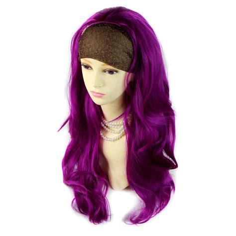 wiwigs purple red long  wig fall hairpiece wavy