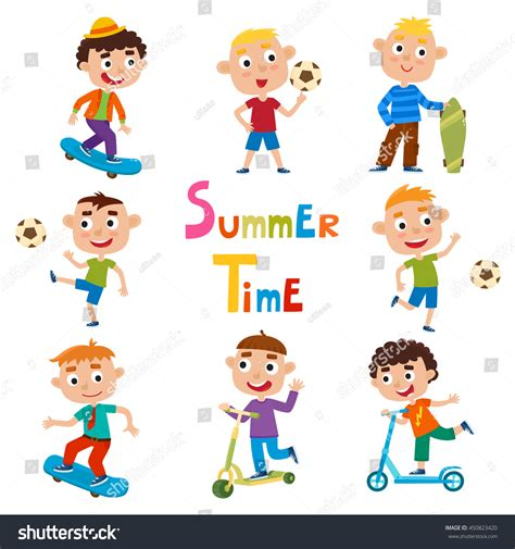 vector set summer childs outdoor activities stock vector