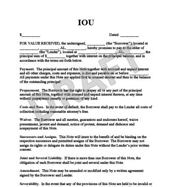 iou template free iou template create an iou form legaltemplates