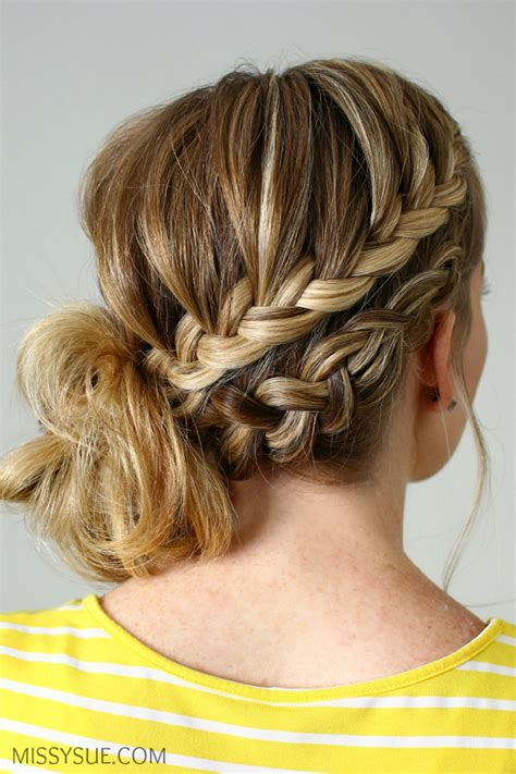 double braided side bun