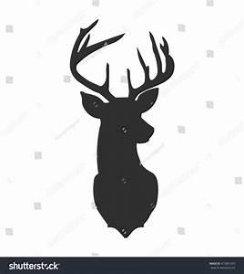 Hand Drawn Silhouette Head Reindeer Vector Stock Vector ...