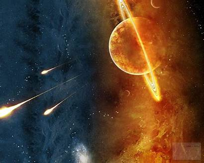 Planet Saturn Space Fire Planets Explosion Planetary