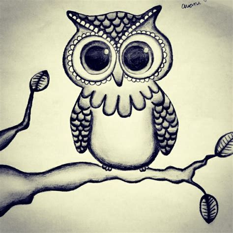 simple owl drawings black and white owl drawings black and white with branches pictures to pin