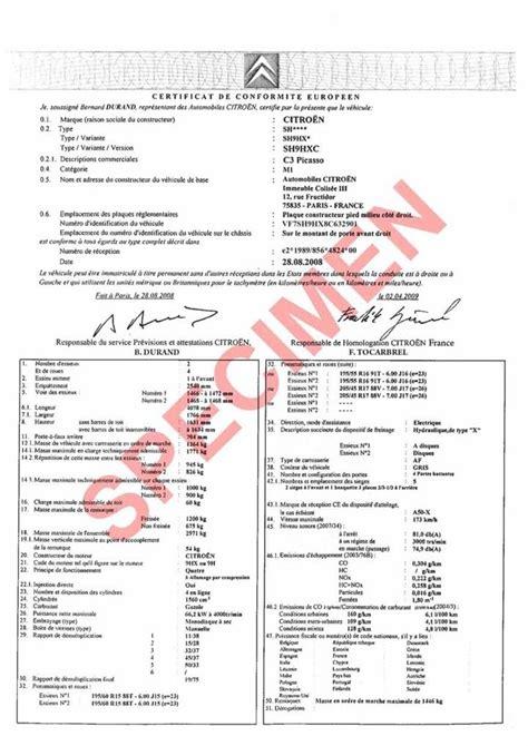 certificat de conformité gratuit certificat de conformit 233 europ 233 en gratuit certificat de conformit 233 et carte grise en ligne