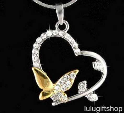 18k white gold plated butterfly heart pendant necklace use