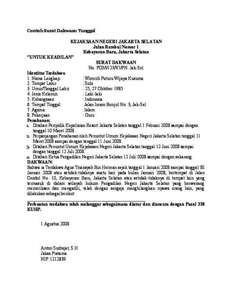 Surat Kronologis by Doc Contoh Surat Dakwaan Tentang Korupsi Romi Saputra