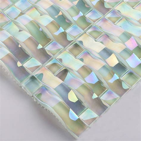 glass mosaic stickers iridescent glass tile