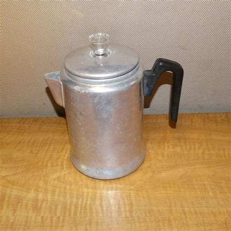 A percolator allows one to boil water a camp stove could be a good source of fire. 1469/ Vintage Aluminum Stovetop Coffee Pot Percolator Perculator ~ Camp | eBay