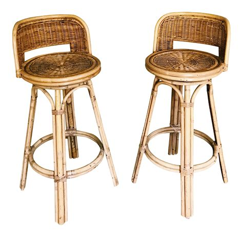 vintage boho rattan bamboo swivel bar stools  pair