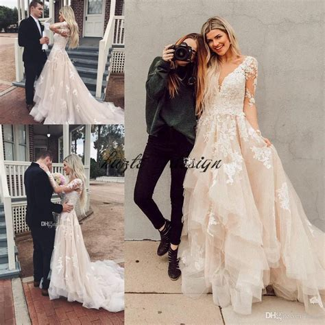 Boho Lace Wedding Dresses Layered Tulle Appliques A Line