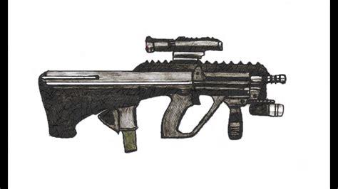 comment dessiner  steyr aug  pas  pas arme  feu