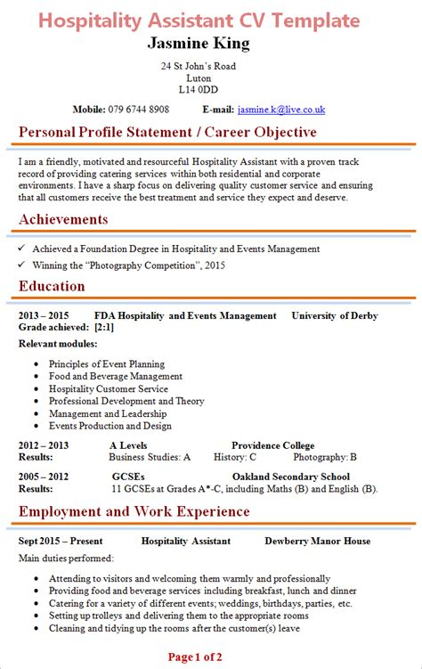 hospitality assistant cv template