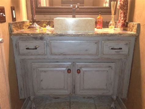 painted glazed distressed bathroom vanity started with