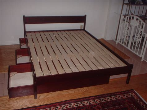 Furniture. Wood Queen Size Platform Bed Frame With Storage