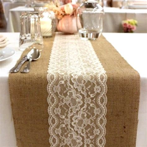 natural burlap hessian scalloped lace combo vintage table runner wedding table runners