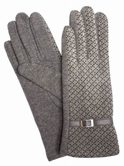 Gloves Winter Knit Check Fine Grey Womens