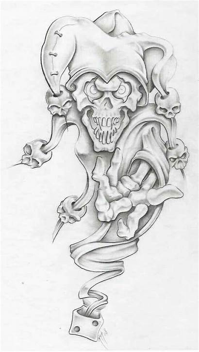 Skull Evil Tattoos Tattoo Drawing Jester Coloring