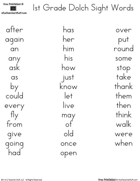 free printables dolch 1st grade sight words reading