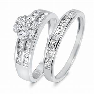 7 8 ct tw diamond women39s bridal wedding ring set 10k With wedding rings for women white gold