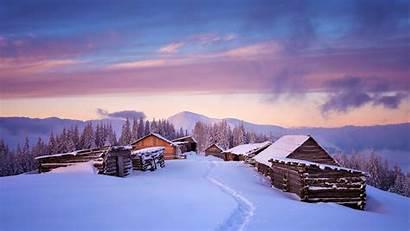 4k Winter Snow Landscape Sunset Houses Wallpapers